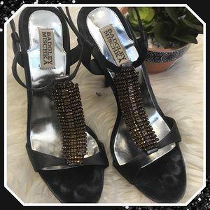 Badgley Mischka Grey Leather & Crystal Heels